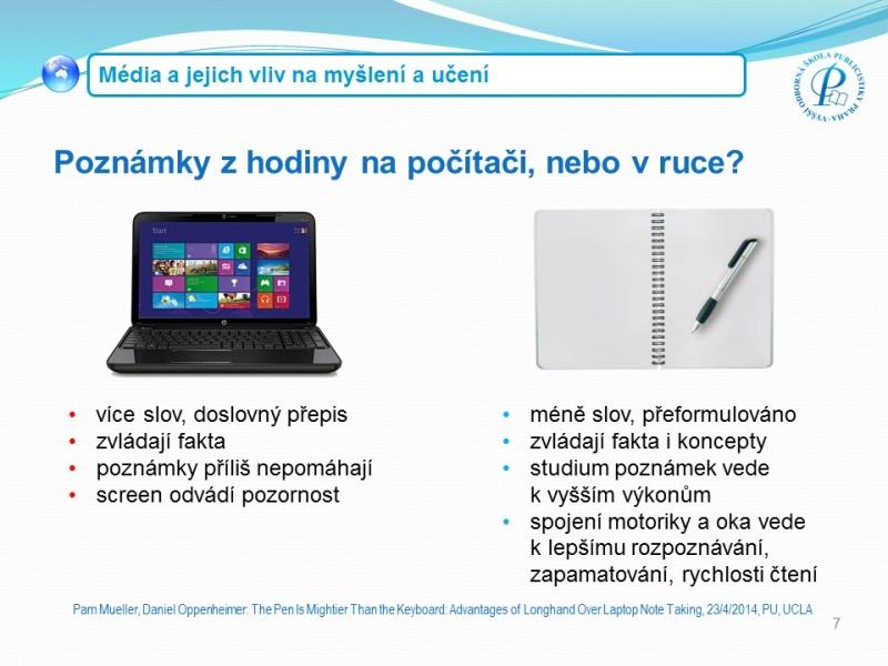 Poznámky v ruce a na počítači